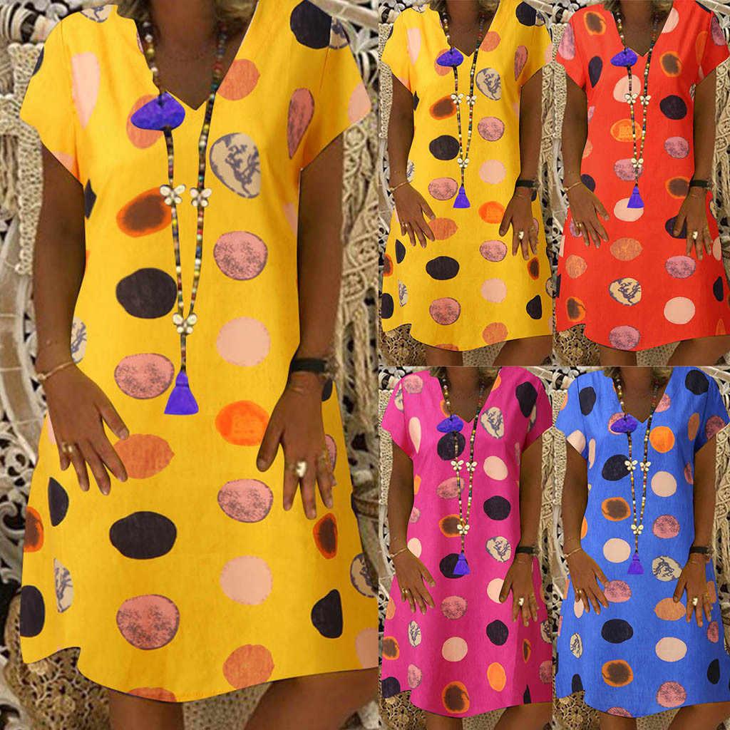 Das Mulheres de verão de Lazer Da Moda Dot Impresso Sexy Vestidos Mulheres Vestido de Verão 2019 Sexy cor Sólida de Manga Curta Vestido Vintage