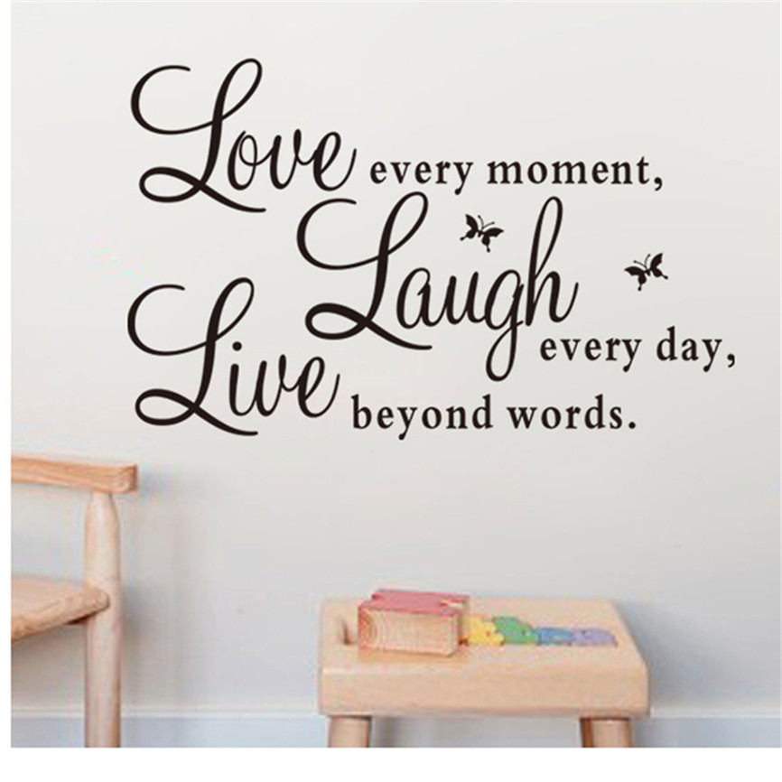 Wallpaper Sticker Fashion Vinyl Decal Live Every Moment,Laugh Every Day,Love Beyond Words CA Wallpapers For Living Room B#