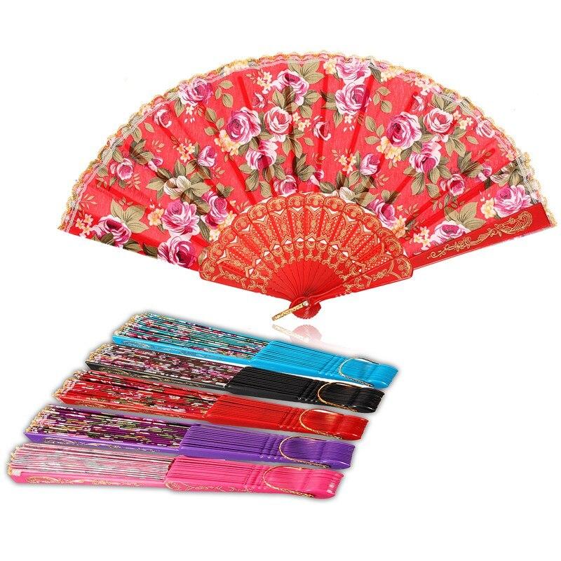 KiWarm Pretty Spanish Lace Fabric Silk Folding Hand Held Dance Fans Flower Pockets Fan Party Wedding Prom Home Decor Art Crafts