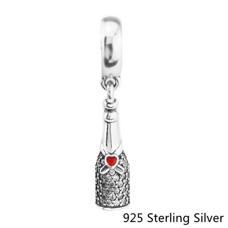 Genuine 925 Sterling-Silver Celebration Time Red Enamel Dangle Fit Bracelet Bead Necklace Pendant for Women Jewelry Making Gift