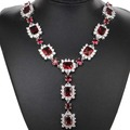 "Long Pendant Blood Ruby,, White CZ Created SheCrown Wedding Woman's   Silver Necklace 18.5"" 74x35mm"