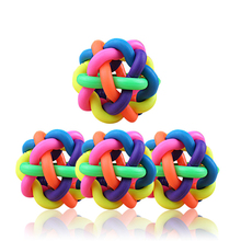 1pcs New Pet Dog Cat Colorful Rubber Round Ball With Small Bell For Small Medium Large