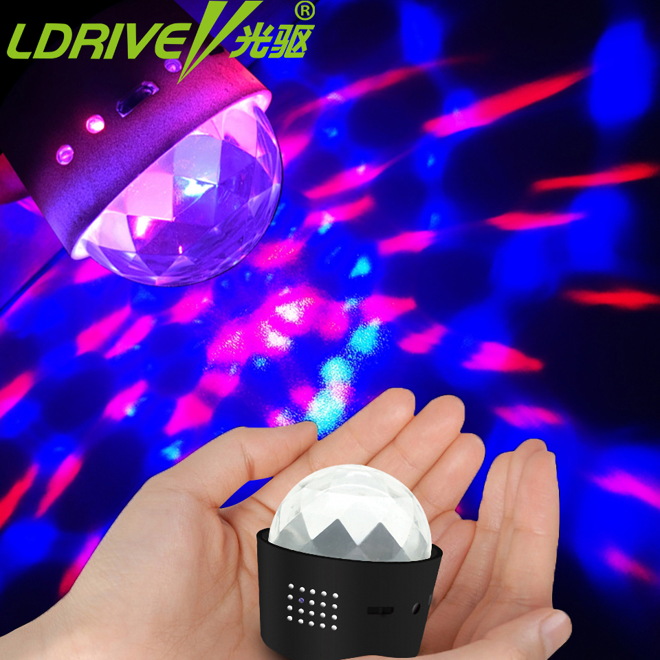 D33 USB Charge Music Decorate Lights Carry Portable Car LED DJ Lamp Mini RGB 3W Stage Effect Rotating Bulb MP3 Club Disco Party