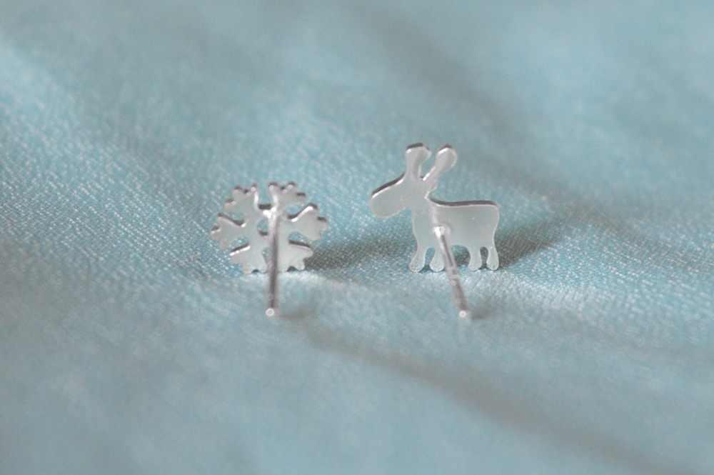 CHENGXUN 1 paire mode femmes asymétrique géométrique flocon de neige Animal argent couleur boucles d'oreilles