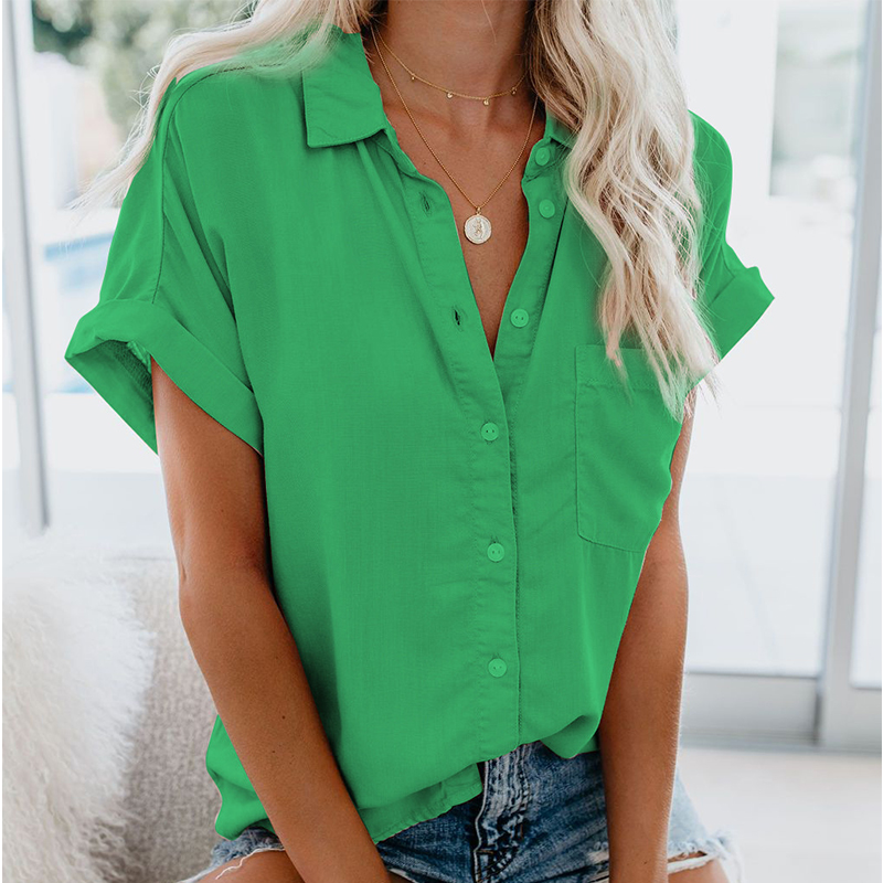 Solid Turndown Casual Women   Shirts   Summer Top Plus Size Short Sleeve   Blouse   Ladies Office Female Cardigan Pullover Tees Tops New