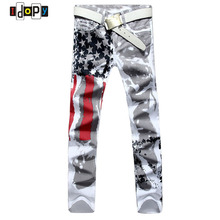 2018 New Fashion Mens American USA Flag Printed Jeans Straight Slim Fit Trousers Plus Size 38