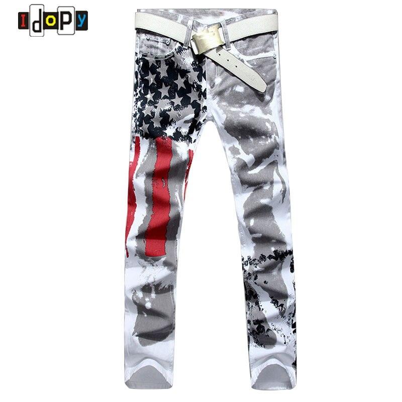 3b52af431d83e 2018 Nowych Moda Mężczyzna Amerykański USA Flag Drukowane Jeans Prosto  Szczupła Fit Spodnie Plus Rozmiar 38 40 42 Dorywczo Spodnie Jeansowe Dla  mężczyźni