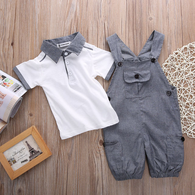 Newborn Baby Boys Shirt +suspender Pants Gentleman Cotton baby clothing Sets Summer Toddler Infant Boy Outifits Set 2