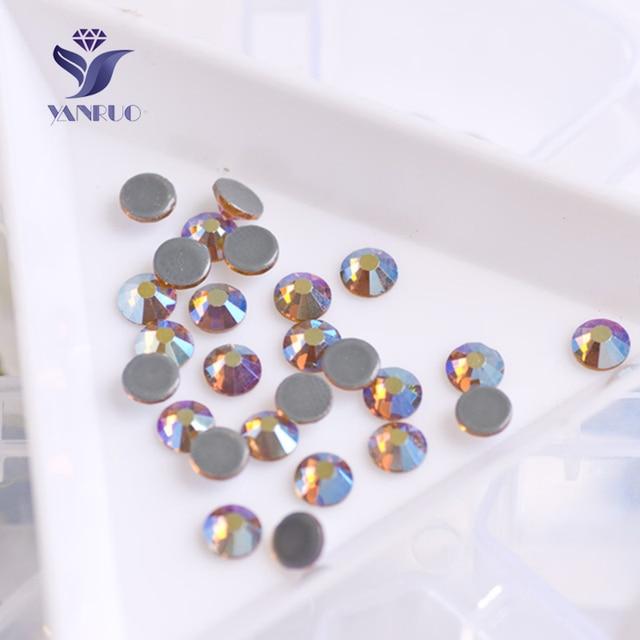 YANRUO 2058HF Topaz AB Flatback Hot Fix Strass Crystal Dress Beads Glass  Stones Pictures of Rhinestones 6efa58ea7664