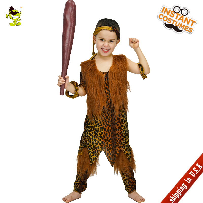 QLQ New Boys Caveman Costume Cosplay Halloween Party Kids Caveman Clothes Masquerade Caveman for Boy