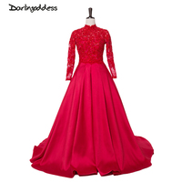 Arabic Long Sleeve Muslim Evening Dress 2017 Red Satin High Neck Women Formal Evening Gowns dresses Plus Size Vestido De Festa