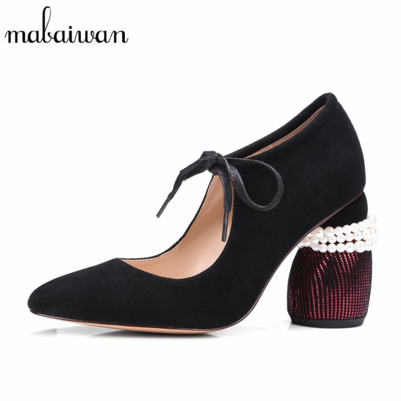 Mabaiwan New Design Real Suede Women Pumps Strange Heel Sexy Ladies Lace Up High Heels Pearl Beading Wedding Dress Shoes Woman half placket pearl beading tie cuff dress