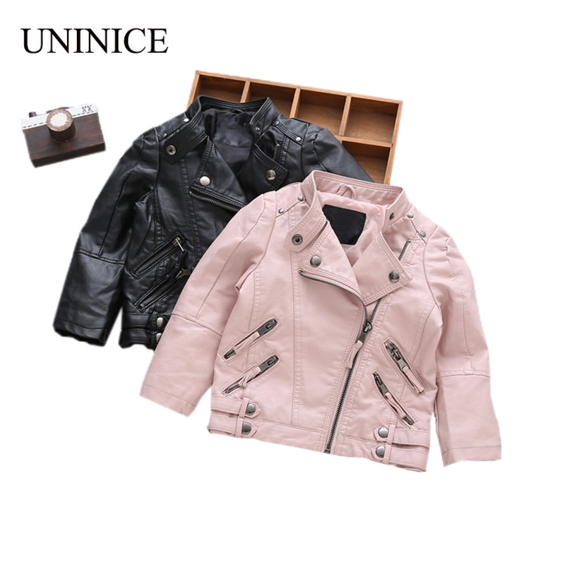 UNINICE Children's PU Leather Jackets Boys Autumn Leather Coat Girls Winter Jacket Clothes Kids Motorcycle Jacket Outwear 2-8Y