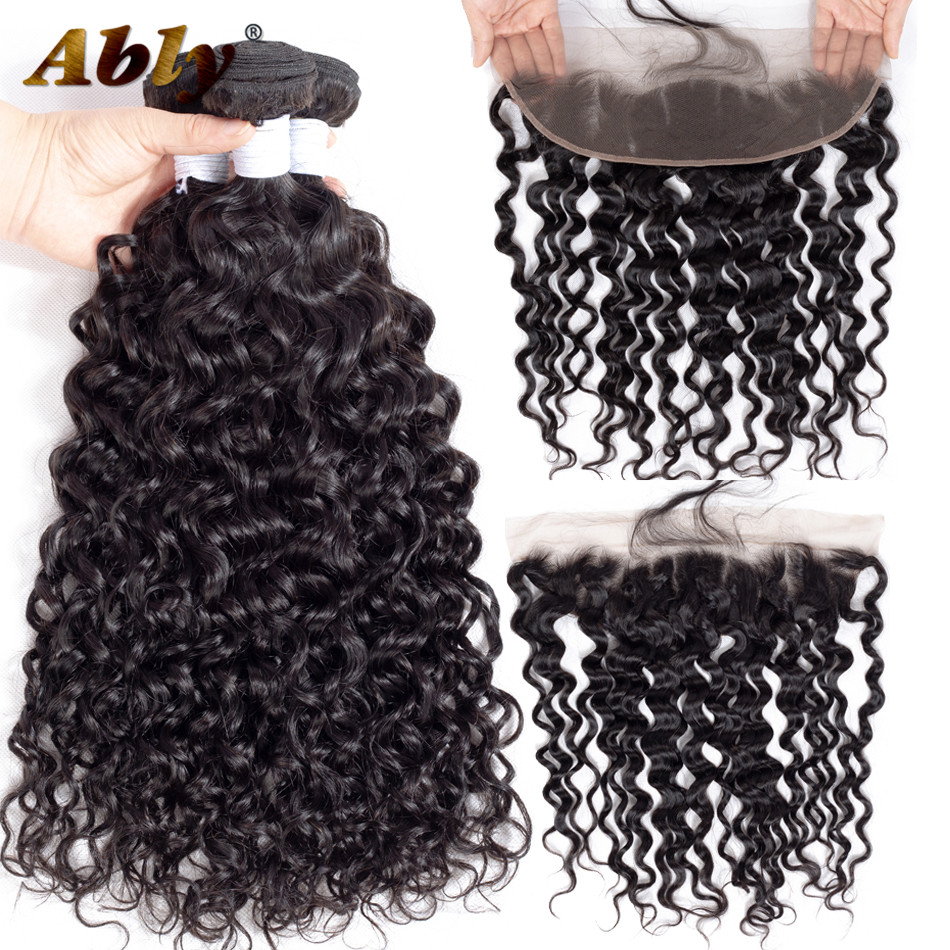 Malaysian Water Wave Hair Bundles With 13x4 Frontal Ably 100% Remy Hair Wet And Wavy Human Hair Bundles With Frontal Closure