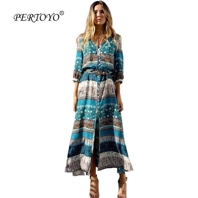 2018cf90a66 PERTOYO Women Beach Boho Maxi Dress 2017 Summer Brand V-Neck Retro Print  Vintage Long Dresses Robe Femme Plus Size Dress XXXL