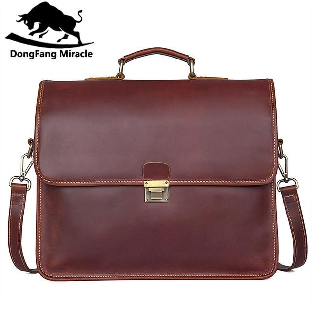 100 Guarantee Genuine Excellent Vintage Leather Briefcases Men Fashion Handbags College Style Shoulder Bag