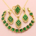 WPAITKYS Trendy Created Emerald Gold Plated Jewelry Sets For Women Necklaces For Female Earrings Pendant Ring Bracelet Free Box