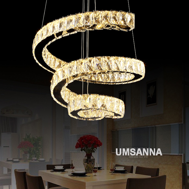 LED Dimmable Pendant Lamps K9 Crystal Modern Pendant Lights Fixture Luxury  Spiral 3 Colors Changing Hanging