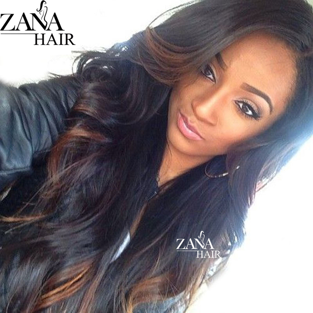 Long Wet Wavy Brazilian Virgin Hair Ombre Glueless Full Lace Wigs