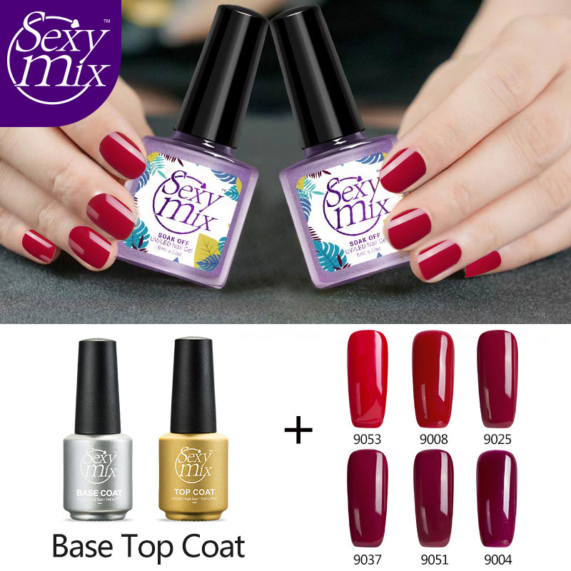 Sexy Mix 8pcs Nude Nail Gel Polish Varnish with Base Top Coat Manicure Set 8pcs/lot Nail Vernis Semi Permanent Gel Polish Kit