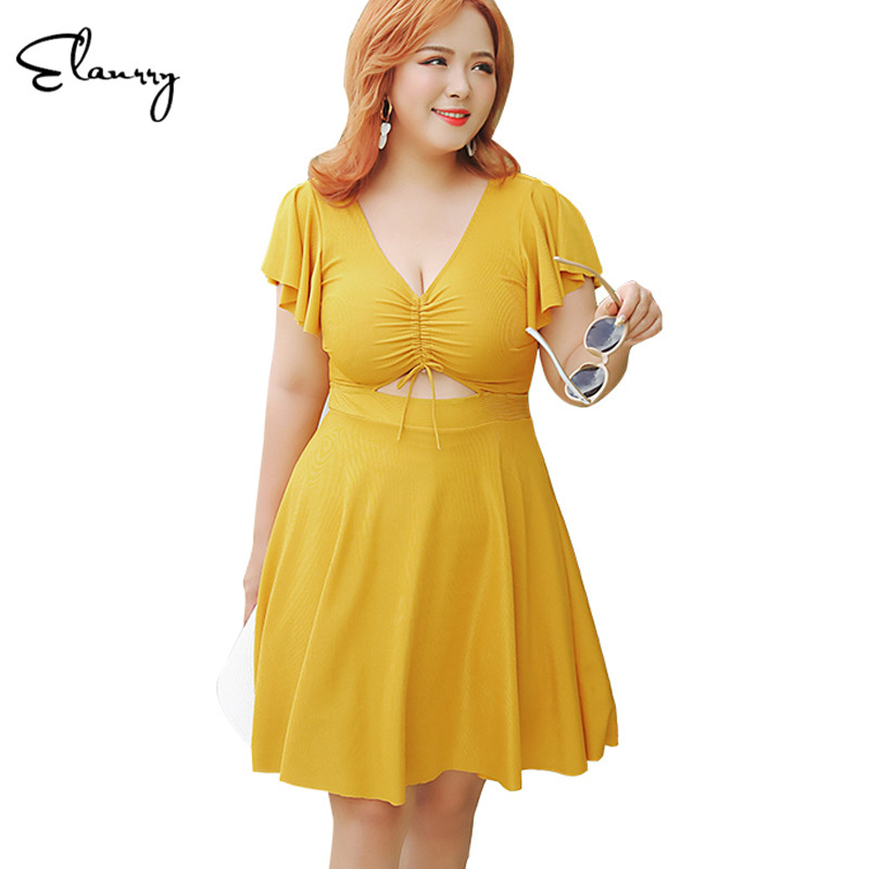 2019 Newest Women Plus Size Swimwear Solid Short Sleeves Swimming Skirt Bandage Sexy Big Chest Padded Swimsuit Summer Beach Suit2019 Newest Women Plus Size Swimwear Solid Short Sleeves Swimming Skirt Bandage Sexy Big Chest Padded Swimsuit Summer Beach Suit