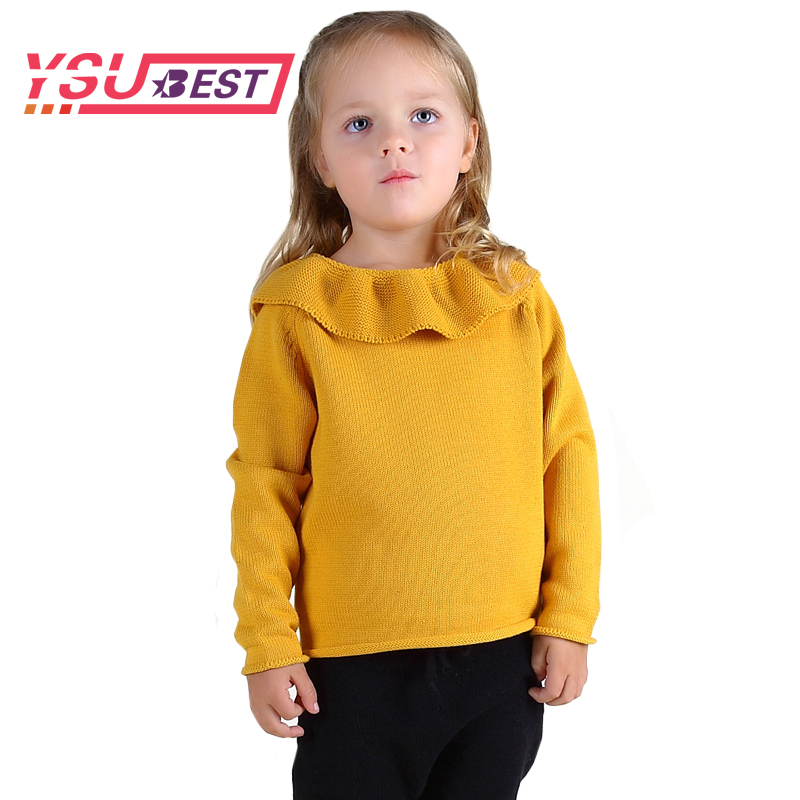 2018 New Girls Lotus Leaf Collar Sweater Children Sweater Shirt Yellow Spring Knitted Sweater Sweet Clothing Baby Girls Sweater yellow open shoulder jersey sweater