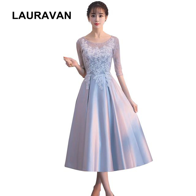 Us 31 16 5 Off Adult Womens Princess Formal Champagne Grey Satin Lace Evening Tea Party Dresses For Women Satin Ball Gowns Wear Wedding Guest In