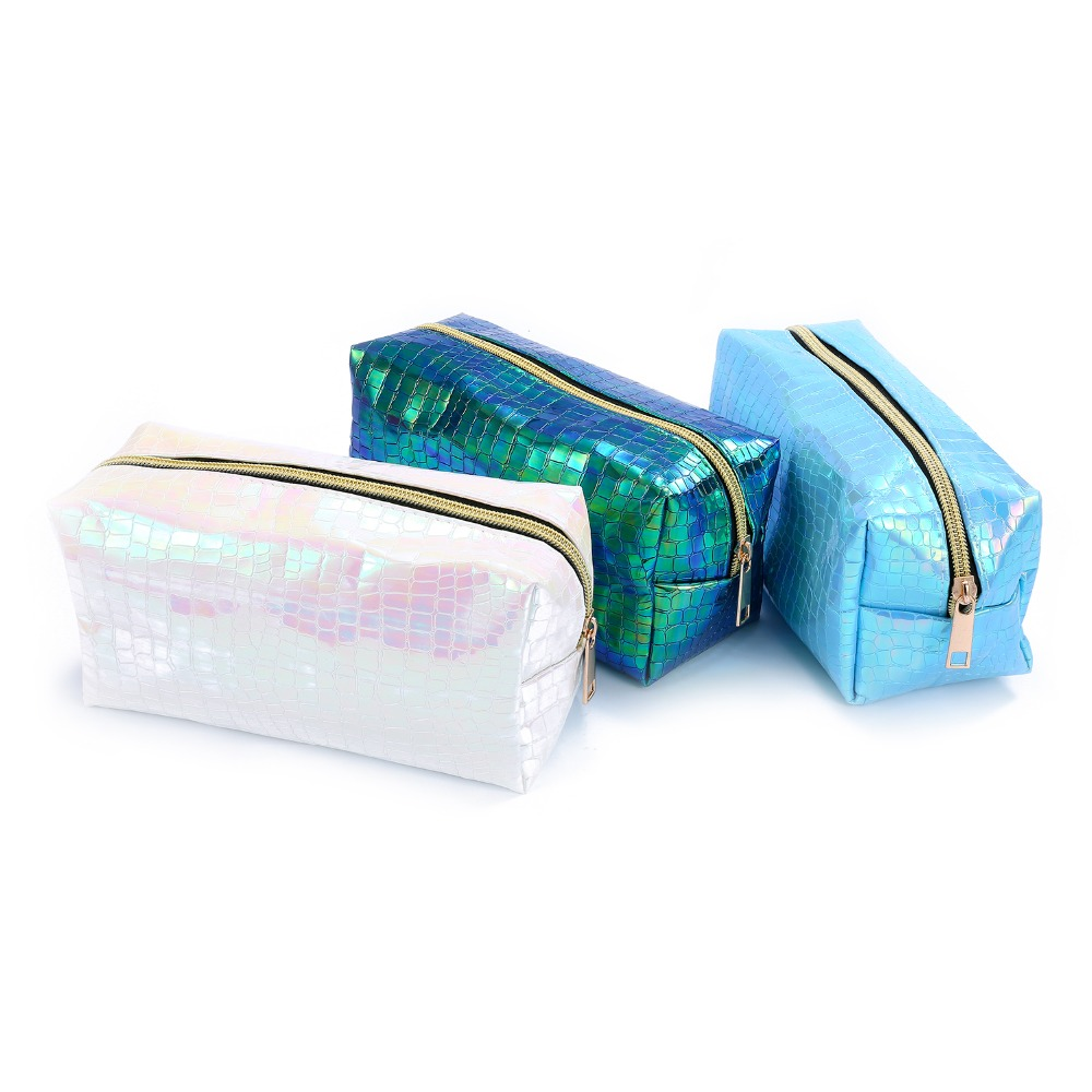Hologram Leather makeup bag for women cosmetic case zipper portable toiletry storage wom ...