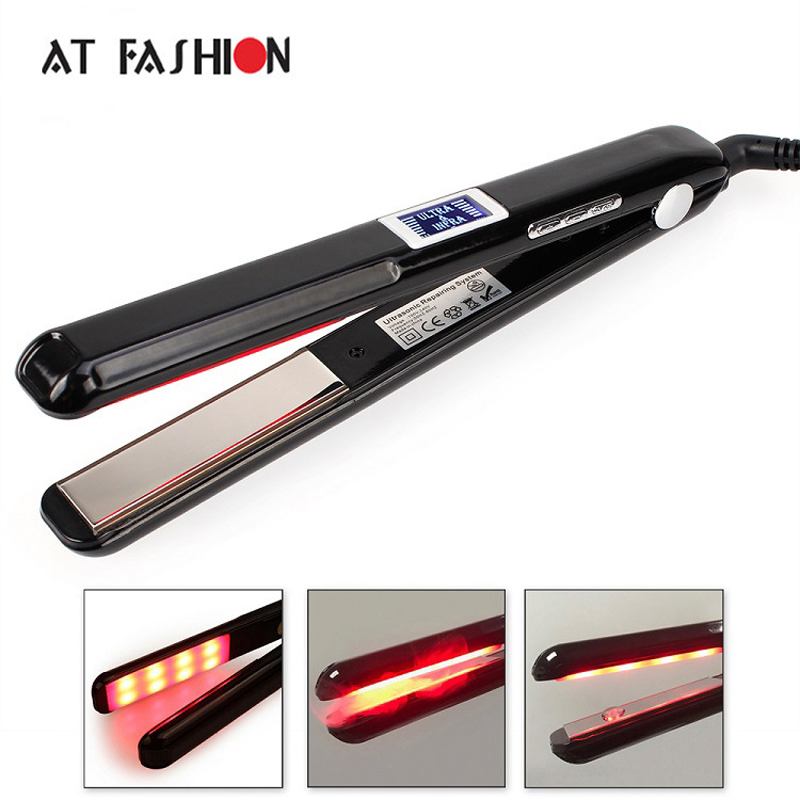 AT FASHION 2017 LCD Ultrasonic Infrared Hair Care Iron Tool Recover Hair Damaged Smoothly Hair Treatment Cold Straightener