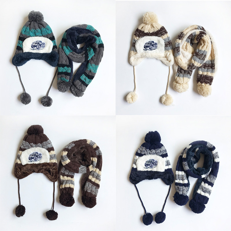 New Autumn Winter Children Warm Thick Boys Girls Hat Scarf Set Knitted Baby Kids Child Ear Caps Neck Warmers For Boys Girls