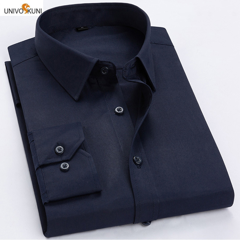 UNIVOS KUNI 2019 Men Shirt Soild Color Long-Sleeved Chest Pocket Dress Suits Business Design Casual Big SIze 7XL Q6058