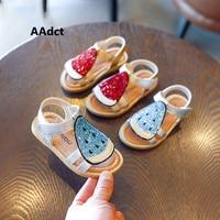 AAdct 2018 Little Girls Sandals Summer New Soft Sole Princess Toddler Baby Shoes Flat Open Toe