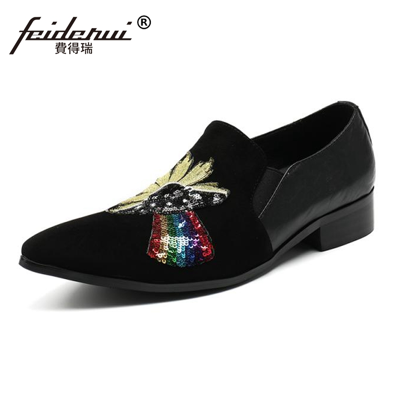Plus Size Black Pointed Toe Slip on Glitter Man Loafers Cow Suede Leather Comfortable Runway Wedding Party Men's Shoes SL94 plus size pointed toe slip on man glitter punk loafers luxury genuine leather studded wedding party men s runway shoes sl31