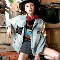FAYE магазин новый Демисезонный Для женщин личность Рок в стиле панк Заклёпки Вышивка Повседневное свободные Chic короткие джинсовые куртки