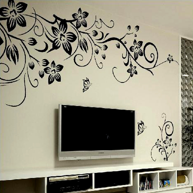Bon Black Flower Vine Wall Stickers Home Decor Large Paper Flowers Living Room  Bedroom Wall Decor Sticker