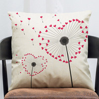 Dandelion Cushion Cover Free Fly Boys And Girls Heart Moral Throw Pillow Cover Cotton Linen Decorative