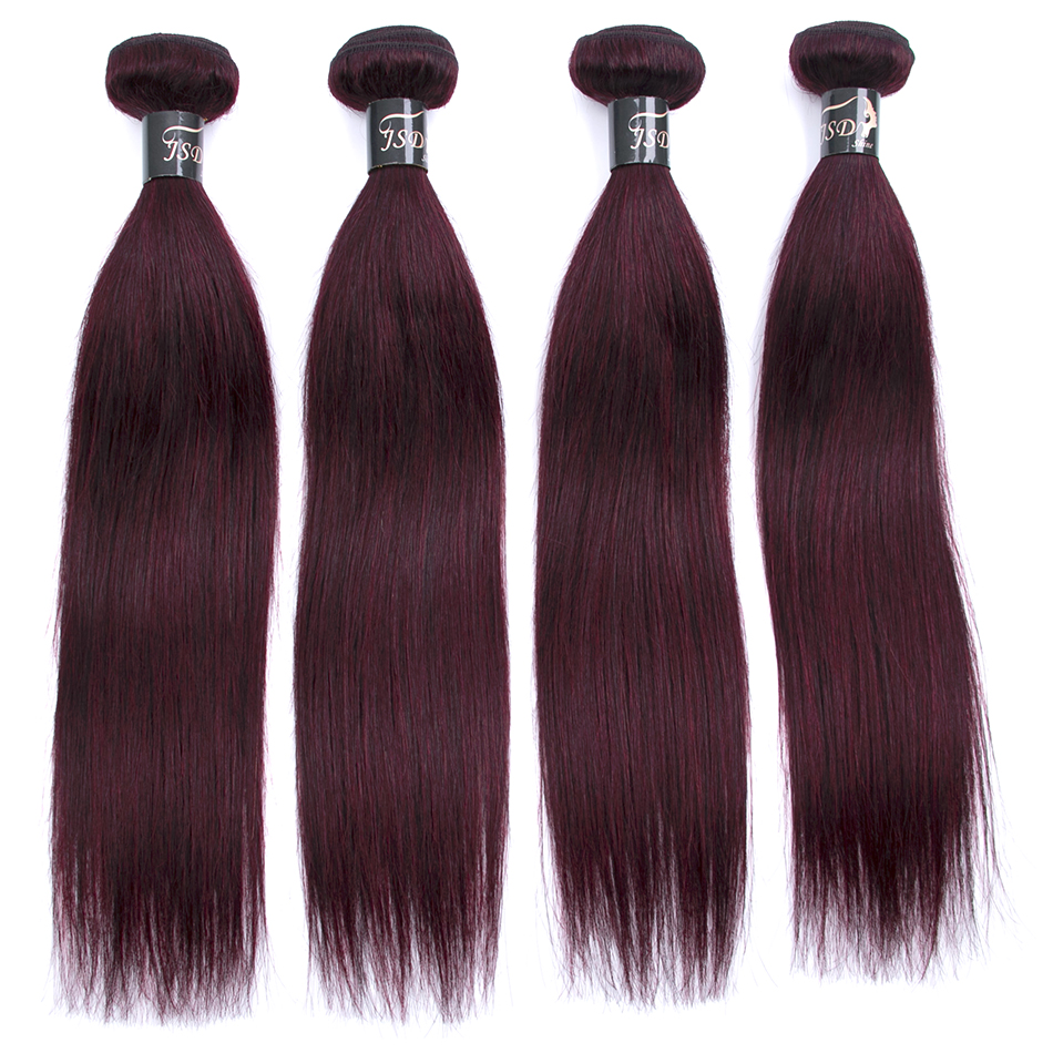 JSDShine Indian Straight Hair 4 piece 99j Burgundy Red Color 100% Human Hair Weave Non-Remy Free Shopping Extension 8-24inch