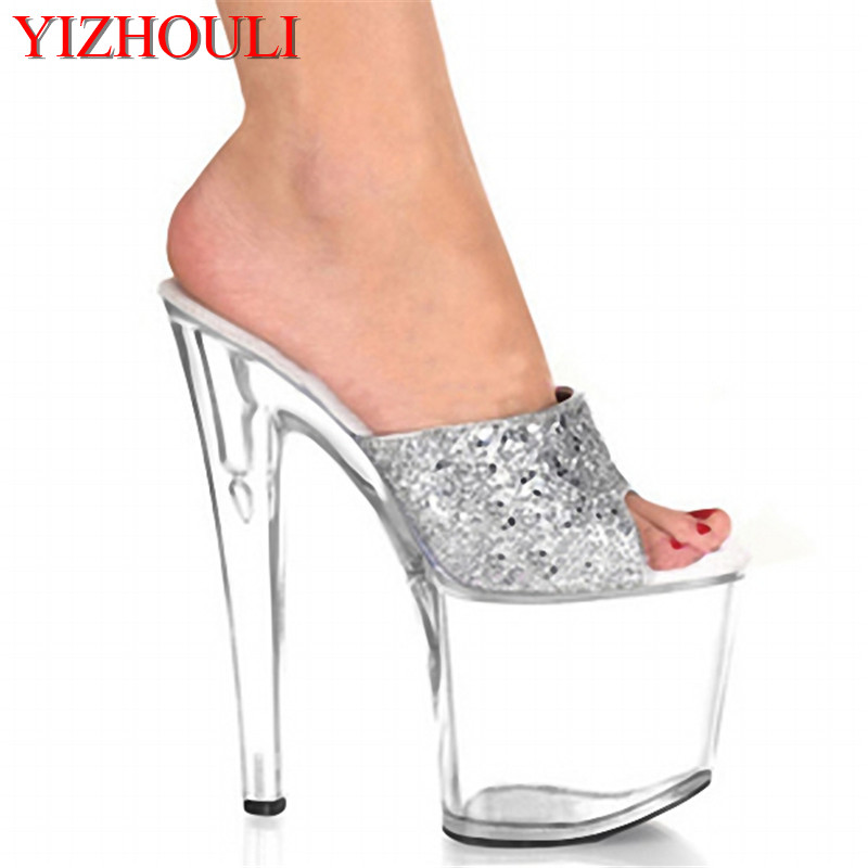 20cm high heels and a silvery transparent model show off new sandals, temperament and high-heeled dancing shoes20cm high heels and a silvery transparent model show off new sandals, temperament and high-heeled dancing shoes