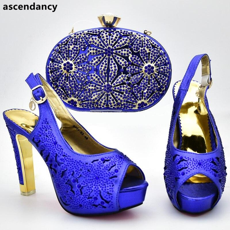 Italiennes Les or Talons pourpre bleu Chaussures Avec Femmes Noir Et Pompes Dames Sacs Strass Ensemble Africain 2019 Décoré Ensembles Assortis Sac Sexy w8R4Y