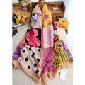 Spring and Winter women soft cotton scarf with cute cartoon printing mix colors good quality and fashion design scarves