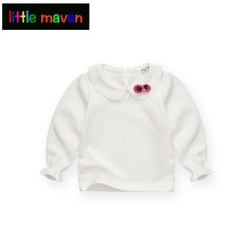 Spring and Autumn Baby Girls White Sweatshirt Long-sleeve Blouse