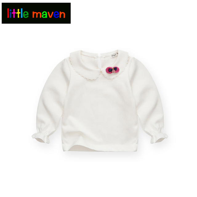 Spring and Autumn Baby Girls White Sweatshirt Long-sleeve Blouse for Girl to School in 1-5 Years Kids Clothes with 3D Bow Brand