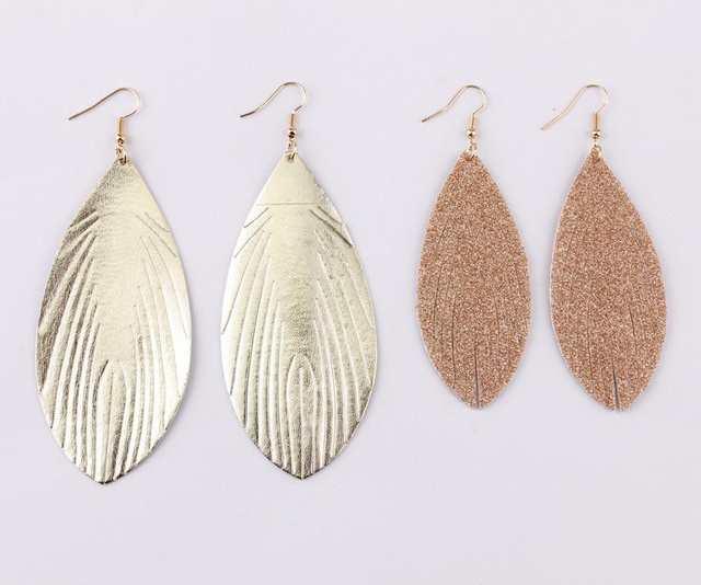 9bfa157338 US $1.72 28% OFF|ZWPON 2019 New Glitter Leather Feather Earrings for Women  Trendy Gold Statement Earrings Jewelry Wholesale-in Drop Earrings from ...