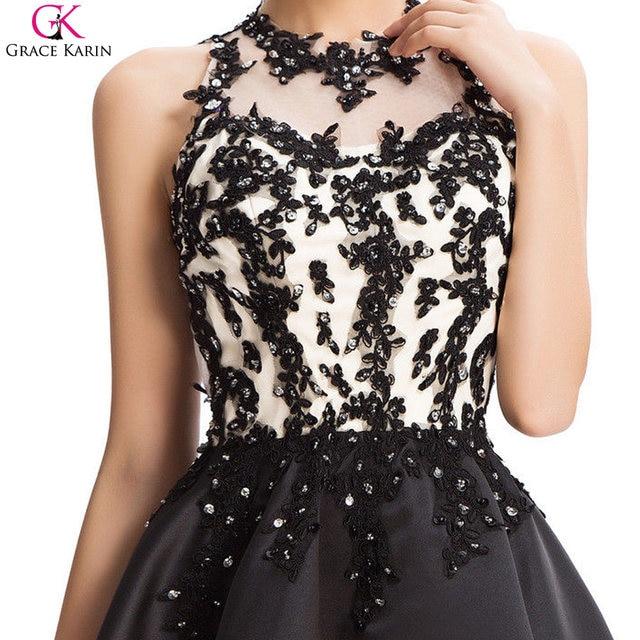 Online Shop Grace Karin Black Applique 2017 New Beaded Short ...