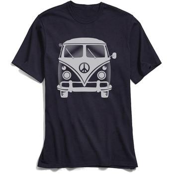 Classic Black T-shirt Men 80s Tshirt Hippie Peace Van Tops Tees for School Day Crew Neck 100% Cotton Short Sleeve T-Shirts