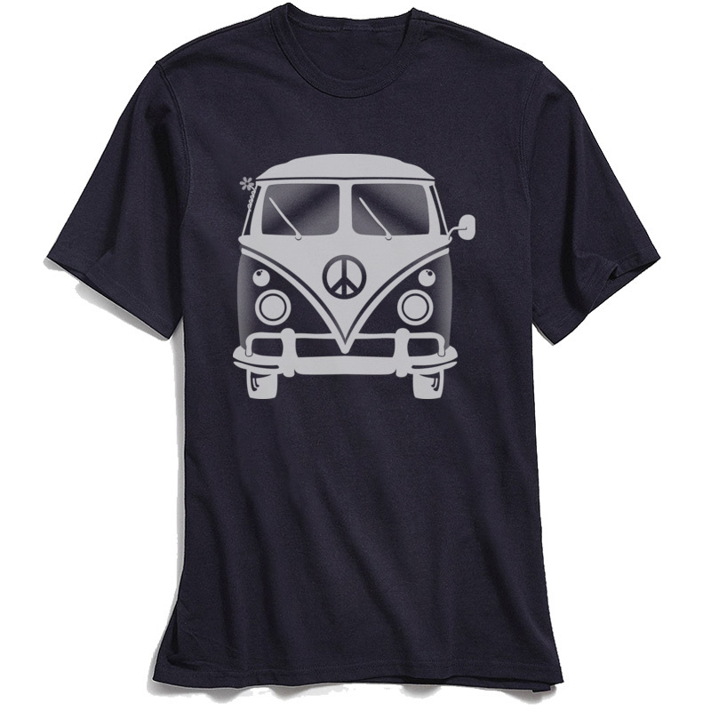 Classic Black T-shirt Men 80s Tshirt Hippie Peace Van Tops Tees for School Day Crew Neck 100% Cotton Short Sleeve T-Shirts