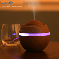 300ML Mini USB Ultrasonic Air Humidifier Wood Grain Aroma Diffuser Purifier 7 Color Change LED Night