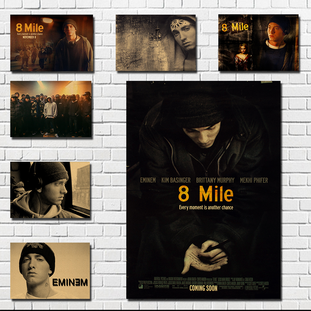 8 Mile Rap Artist Retro Kraft Poster, Rap God Eminem Poster, Kraft Paper Poster, Decorative Painting, Wall Sticker