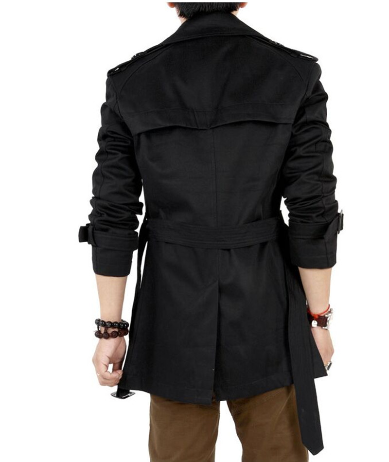2016 Trench Coat Men Classic Double Breasted Mens Long Coat ...