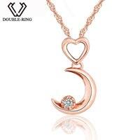 DOUBLE-R Moon Shape 0.03ct Diamante Collane Ciondoli Donne 925 Sterling Silver Anniversary Oro Rosa Cuore Gioielli Su Misura